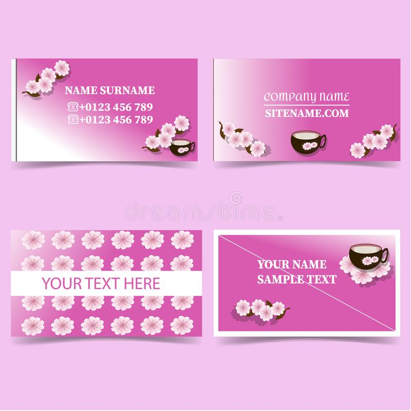Pink-business-card-templates-with-flowers-and-Cup-Stationery-design-vector-set stock illustration