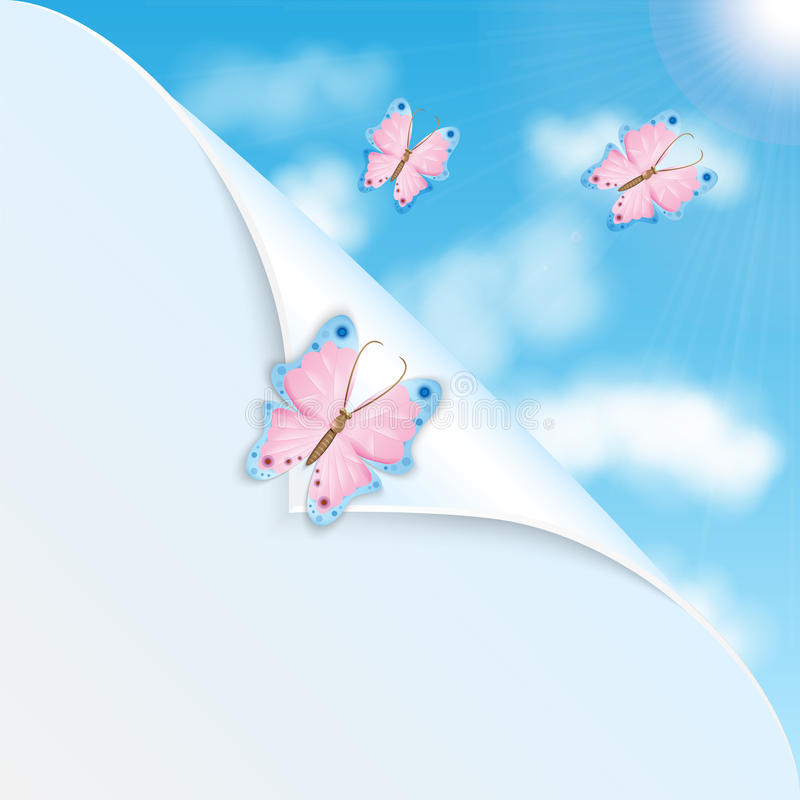 Download Pink Butterflies And Blue Sky Stock Vector - Illustration of spring, cloudy: 39273859