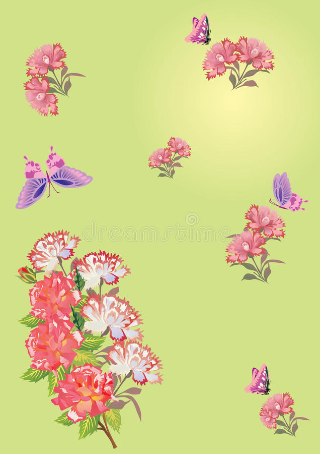 Pink butterflies and flowers on green
