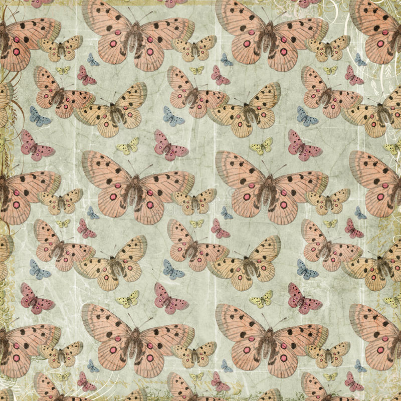 Pink butterflies repeat pattern background. Pink butterflies seamless repeat pattern background with flourished edges and grungy texture on gray background royalty free stock photo