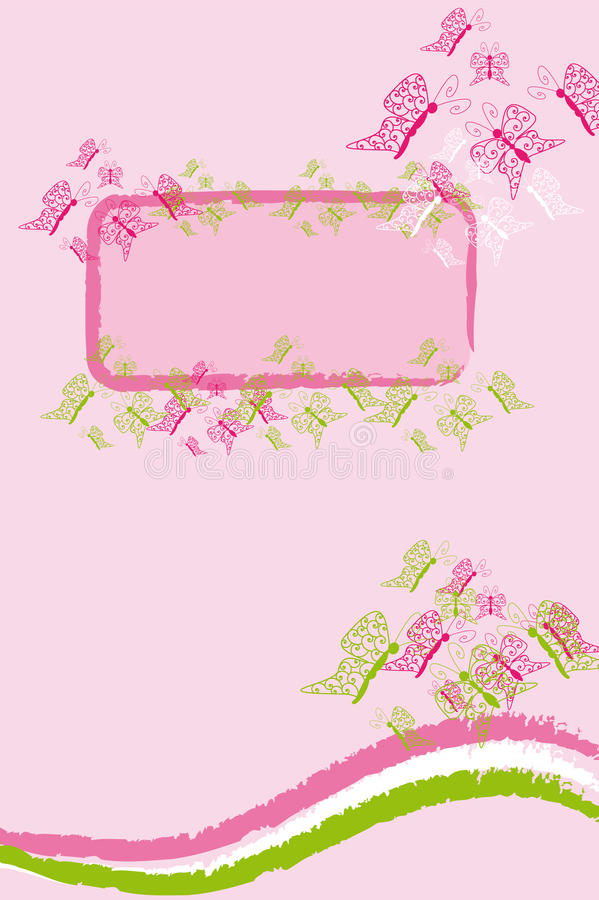 Pink butterfly banner vector illustration