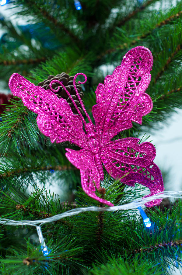 Pink Butterfly On Christmas Tree Decoration - Pine Tree ...
