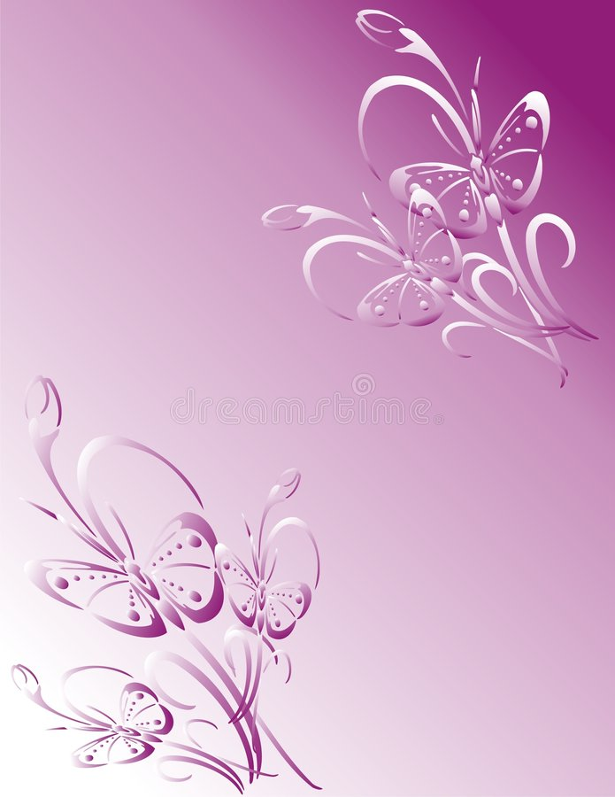 Pink butterfly frame stock illustration