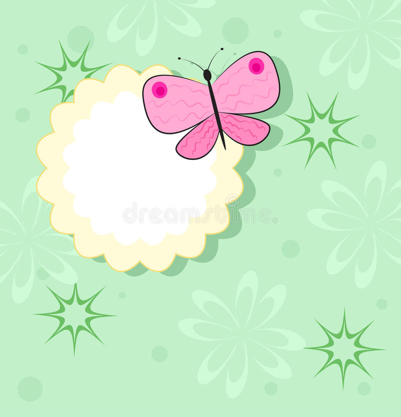 Pink butterfly on yellow frame royalty free illustration