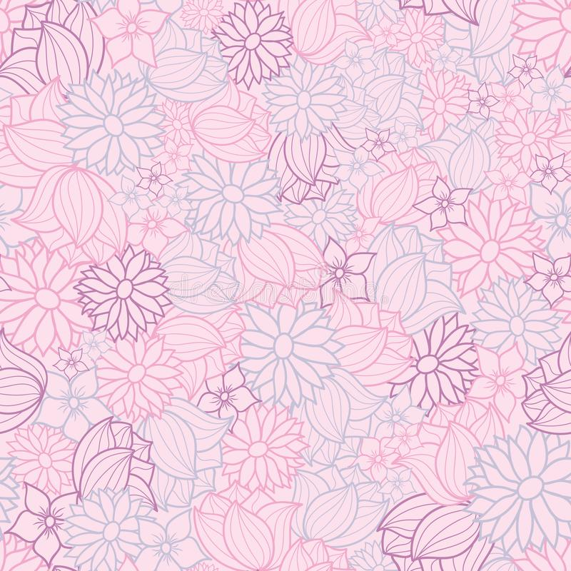 Pink, purple and blue vector floral seamless pattern background vector illustration