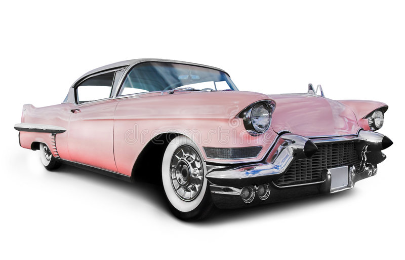 Pink cadillac car. Old Pink Car. Pink cadillac car, isolated on a white background stock photo