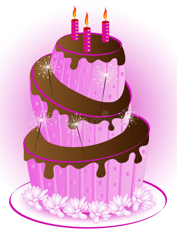 Download Pink cake stock vector. Illustration of coffee, bloom - 24728390