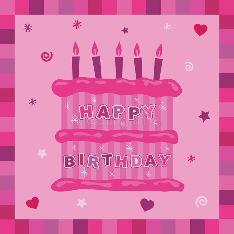 Download Pink cake birthday card stock vector. Image of icing - 10034303