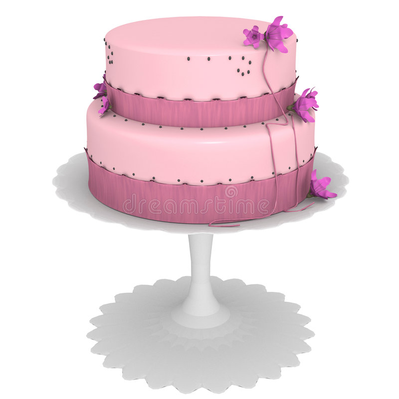Pink Cake with flowers & ribbon. 3d created cake on cake stand in isolation royalty free illustration