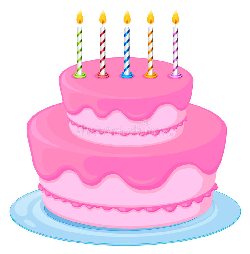 Pink cake. Illustration of a pink birthday cake on a white background stock illustration