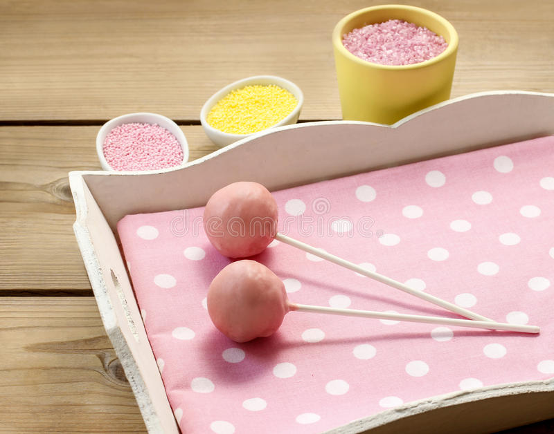 Pink cake pops. Party dessert stock photography