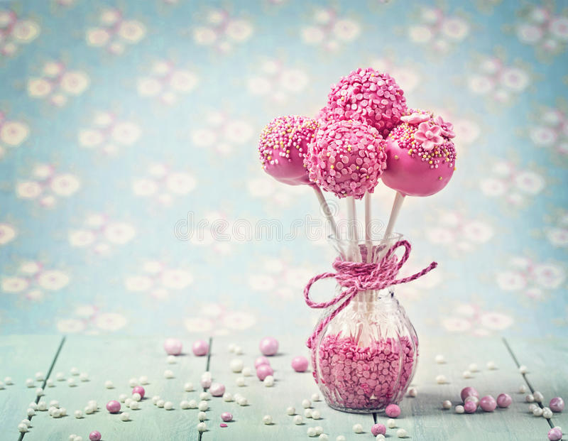 Pink cake pops royalty free stock photos