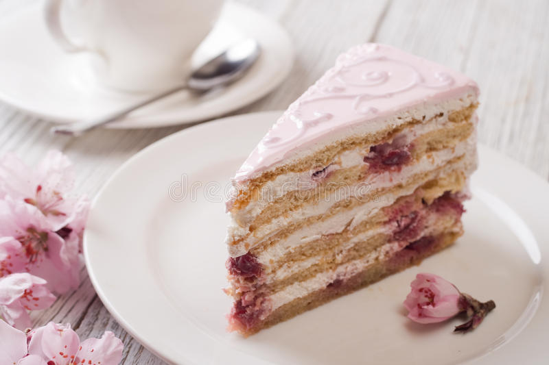 Pink cake. Still life in white key royalty free stock photo
