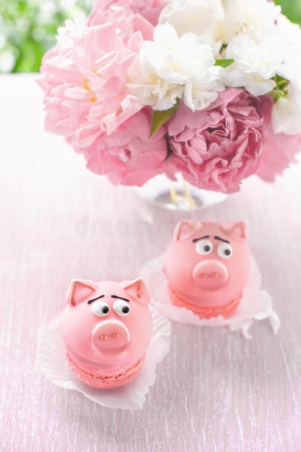 Pink cakes in the shape of pigs with a bouquet of peonies on the holiday. Copy the place. royalty free stock image