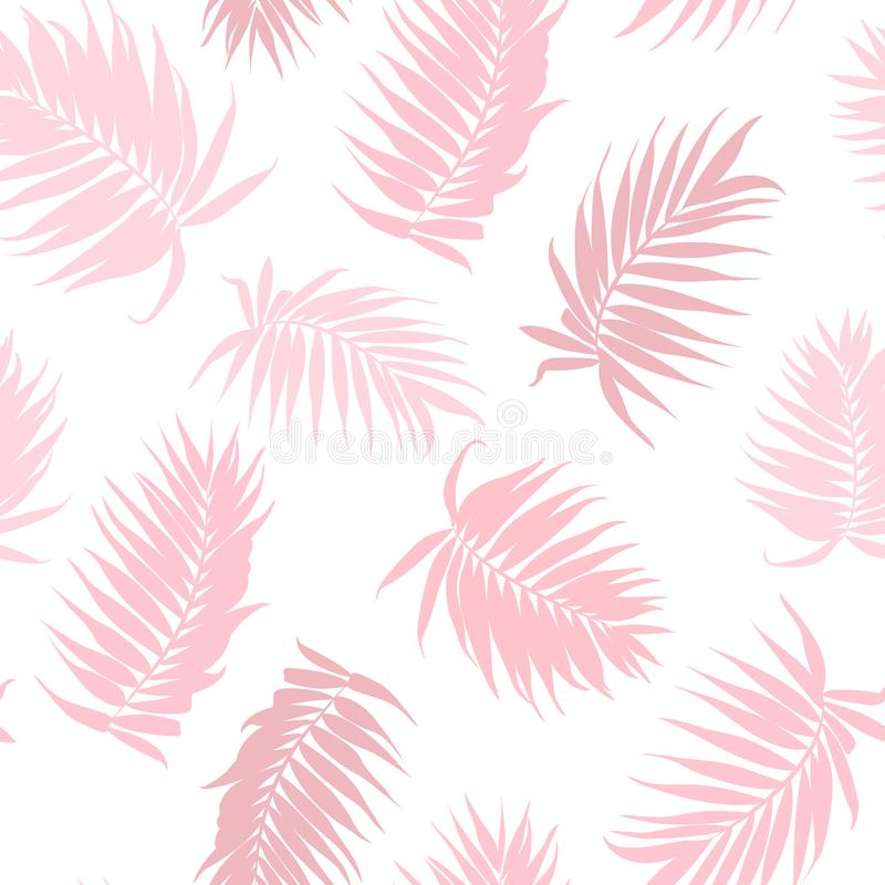 Pink camouflage palm tree leaves seamless pattern vector illustration