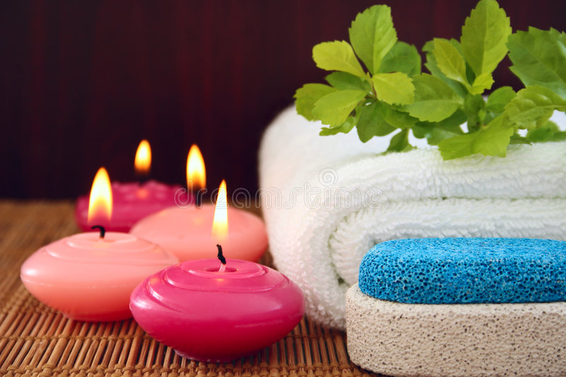 Pink Candles,pumice,towel Royalty Free Stock Images