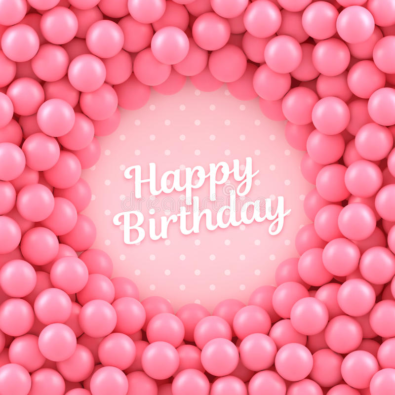 Pink candy balls background with Happy Birthday. Vector illustration Eps 10 royalty free illustration