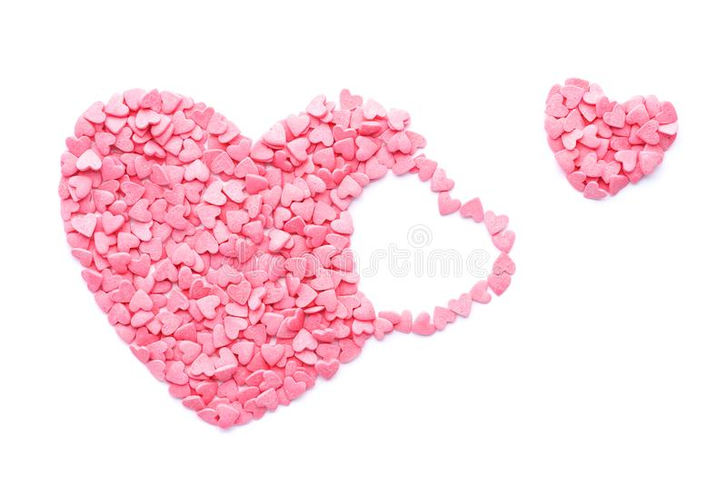 Pink Candy Heart fly out. Valentines Day concept. stock photography