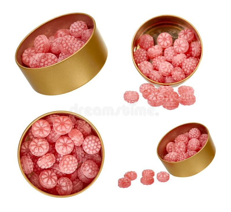 Pink candy in metal jar, set and collection. Isolated on white background, raspberry, strawberry, present, suck, confection, confectionery, unhealthy, snack stock images