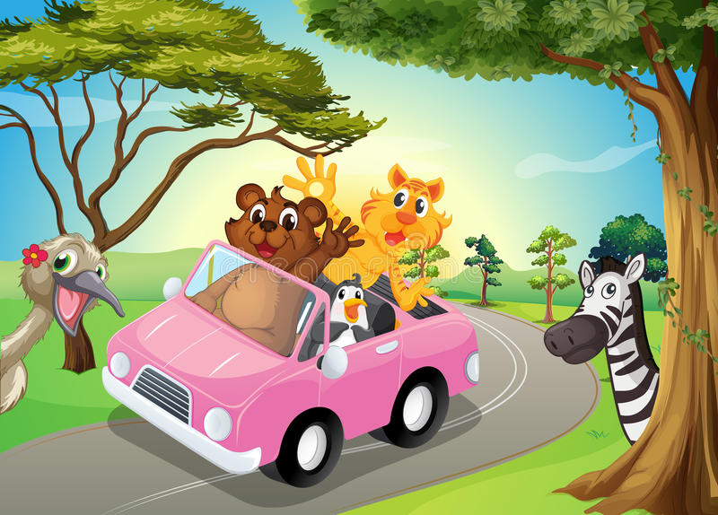 A pink car with animals. Illustration of a pink car with animals stock illustration