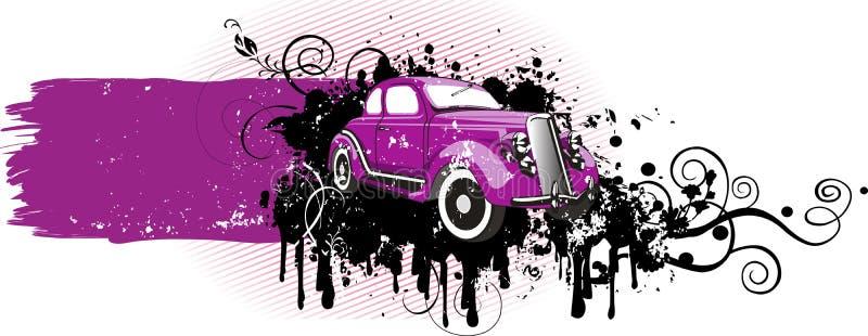 Pink_car_grunge_version stock abbildung