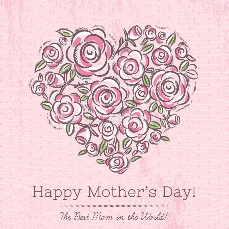 Pink card with heart of flowers for Mother's Day royalty free illustration