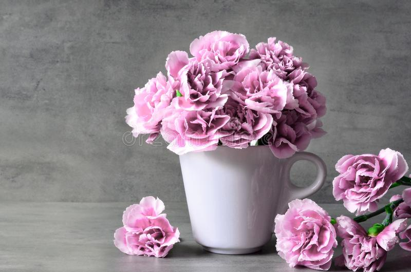 Pink carnation flowers in cup on grey background royalty free stock photography
