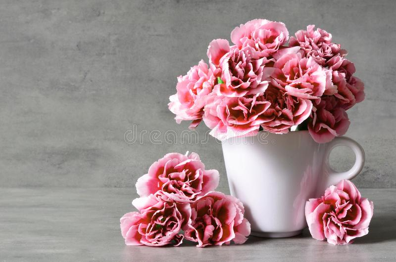 Pink carnation flowers in cup on grey background. stock image