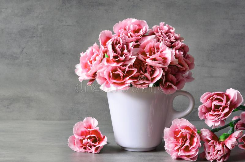 Pink carnation flowers in cup on grey background. royalty free stock photos