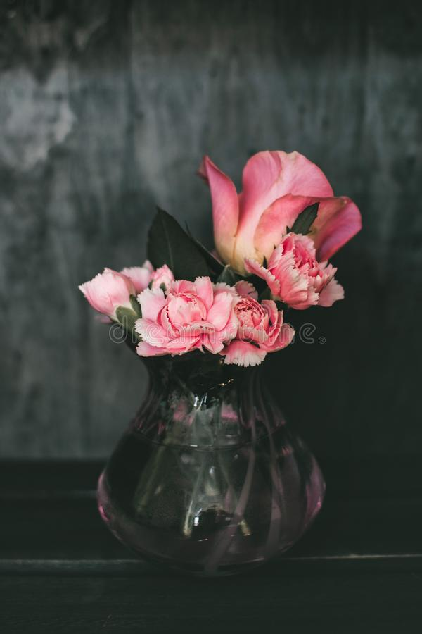 Pink Carnation Flowers and Pink Rose Flowers Centerpiece stock image