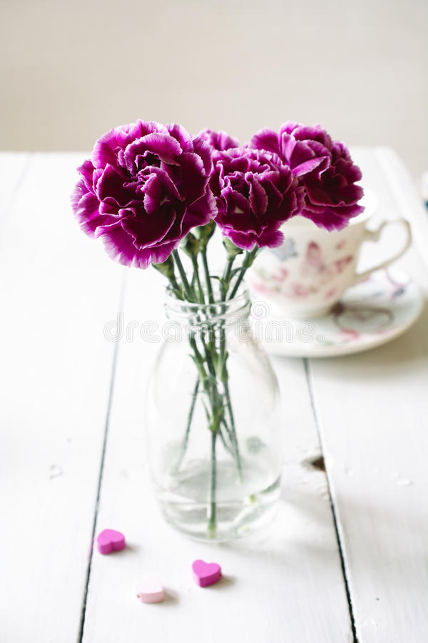 Pink Carnations Flower Bouquet In A Vase Stock Image - Image of ...
