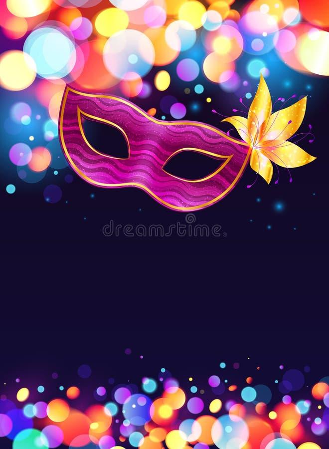 Pink carnival mask and bokeh lights dark blue stock illustration