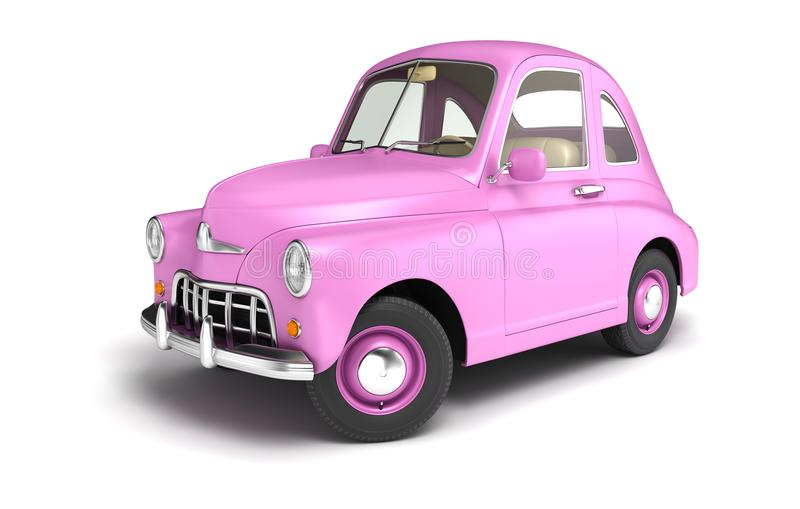 Pink cartoon car. Isolated on white. 3D illustration royalty free illustration