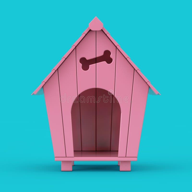 Free Pink Cartoon Dog House Mockup Duotone. 3d Rendering Stock Image - 159800161
