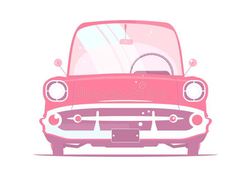 Pink cartoon retro car. Pink retro car. Simple and clean retro valentines day invitation. Front view. Flat vector stock illustration