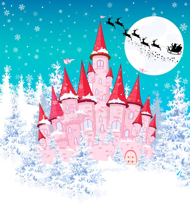 Free Pink Castle In The Winter Forest 1 Stock Photo - 131363240