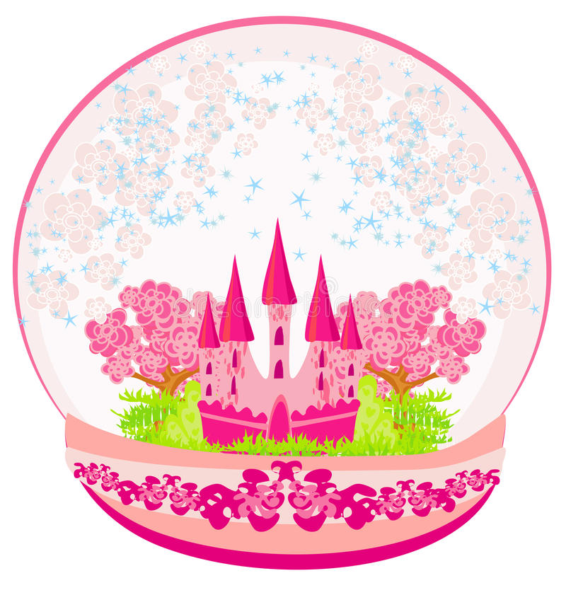 Pink castle inside the dome stock illustration