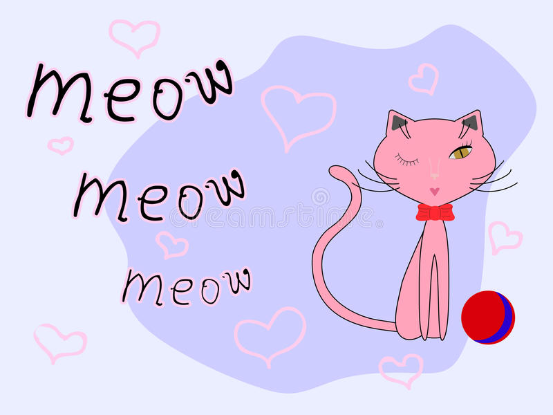 Pink cat, red bow and red-blue ball on a light lilac background with pink hearts royalty free illustration