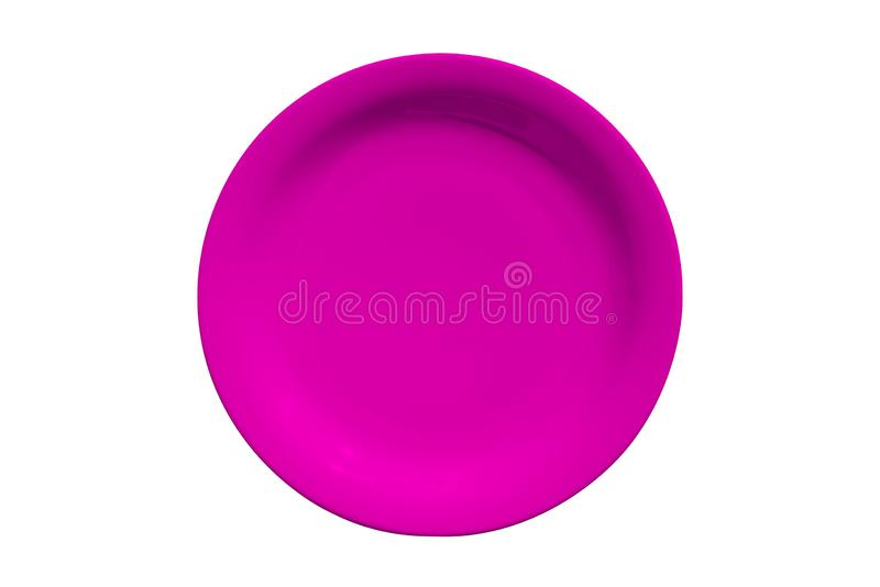 Pink ceramic round plate isolated on white background stock photo