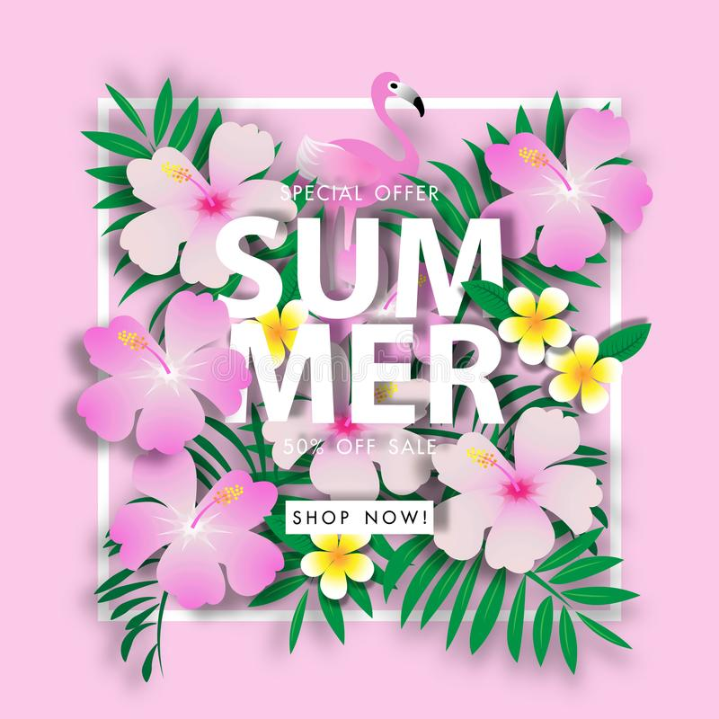 Pink chaba and green leave summer sale background vector illustration sale off template. Pink chaba and green leave summer sale with pink background vector royalty free illustration