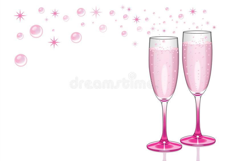 Pink Champagne Flutes with Bubbles royalty free stock photos
