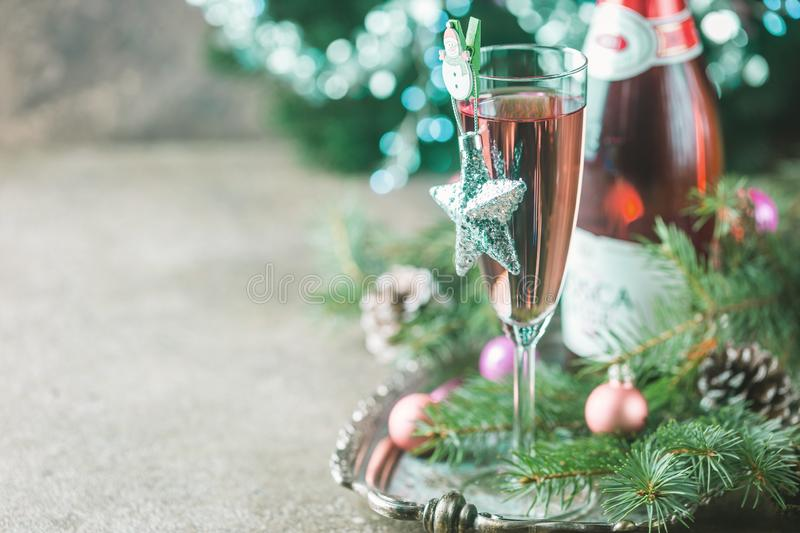 Pink champagne in a glass royalty free stock image