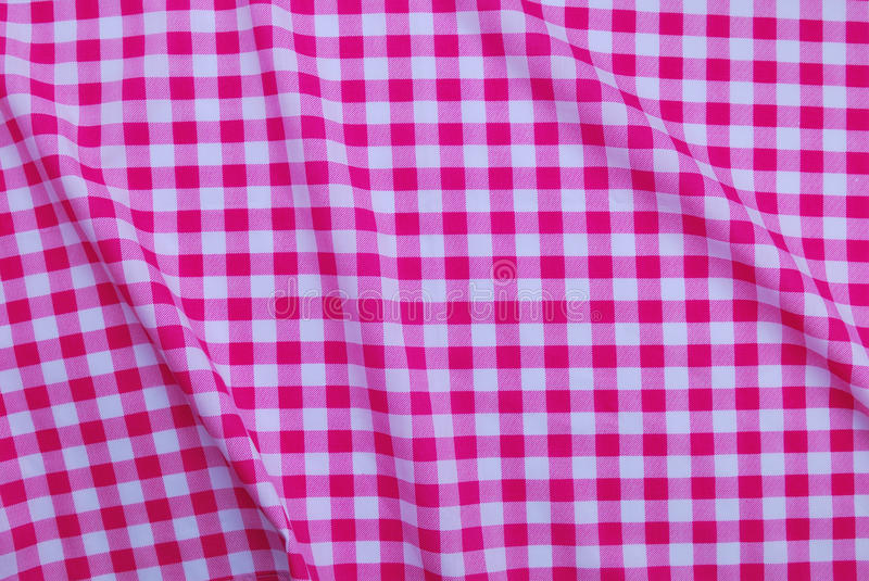 Beautiful Pink Checkered Tablecloth Stock Photo