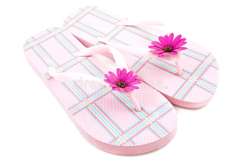 Pink Chequered Slippers Royalty Free Stock Image