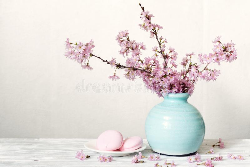 Pink cherry blossom flower bouquet with macarons in blue vintage vase on white wooden background royalty free stock photography