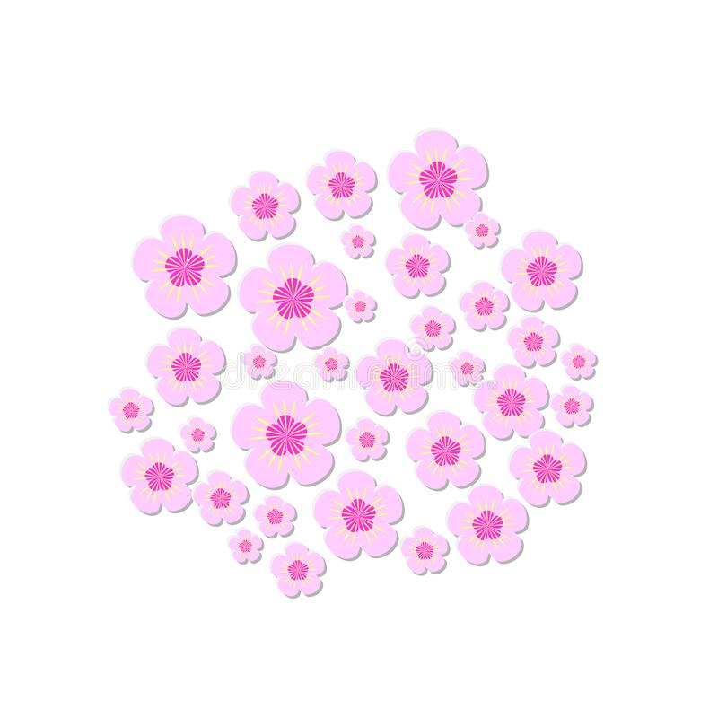Pink cherry blossoms of different sizes. Vector print royalty free illustration