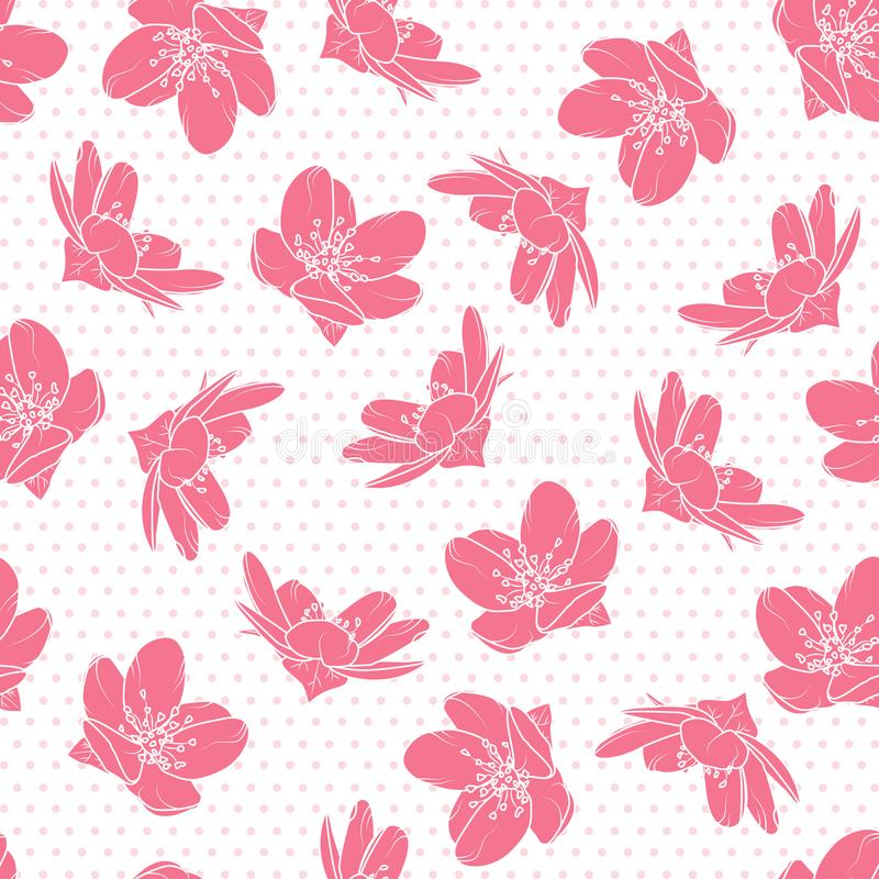 Pink cherry sakura flowers polka dot pattern. Bright pink cherry sakura flowers seamless pattern. Tree bloom blossom. Polka dot background. Vector design royalty free illustration