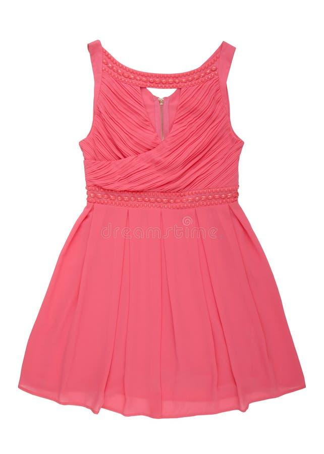 Pink chiffon dress with beads royalty free stock image