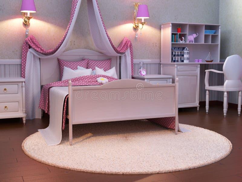 Pink Children Girl S Bedroom Background Stock Illustration Illustration Of Scene Nice 199575644