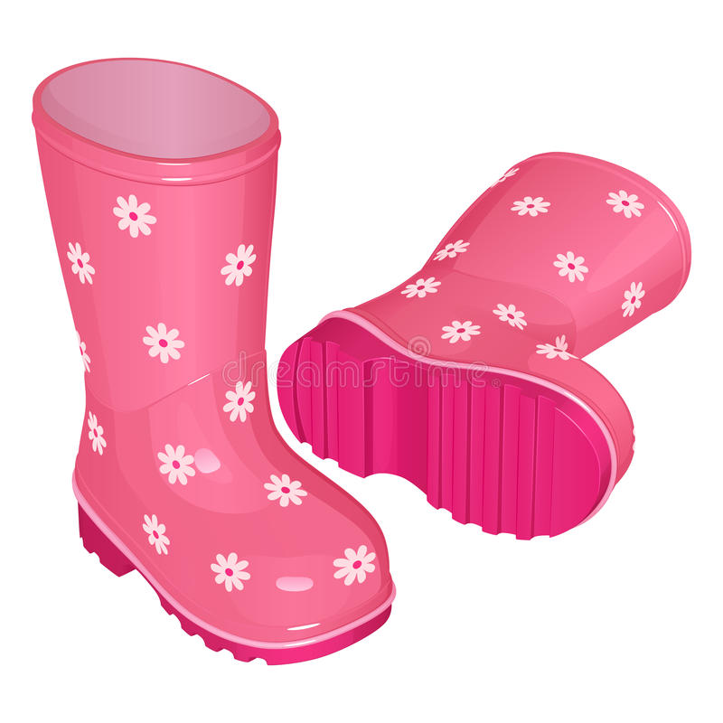 Pink children`s rubber boots for a girl, with a pattern of white flowers, on a corrugated sole, one stands, the other lies. Vector drawing vector illustration